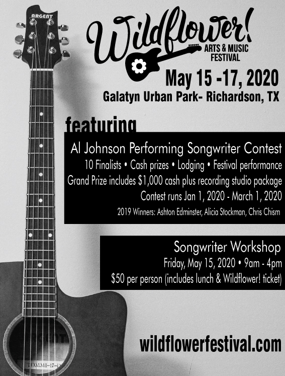 Wildflower! Arts & Music Festival Al Johnson Performing Songwriter Contest 2020 in Richardson